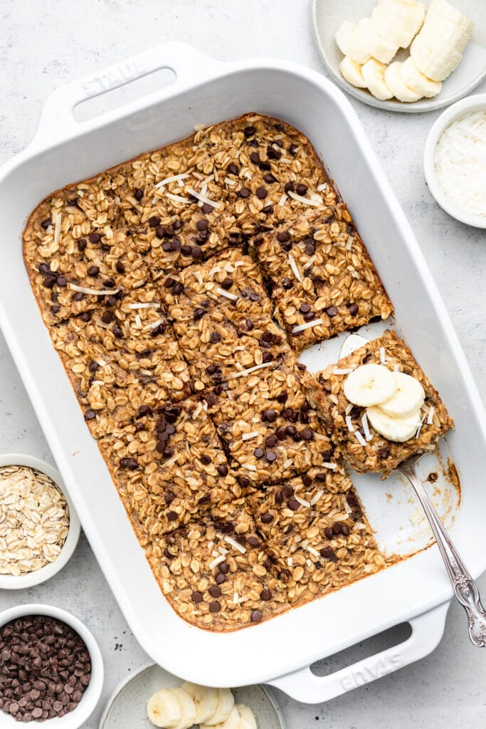 baked oatmeal in baking dish with bananas