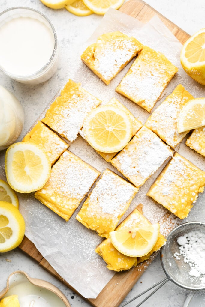 gluten free lemon bars sliced with powdered sugar