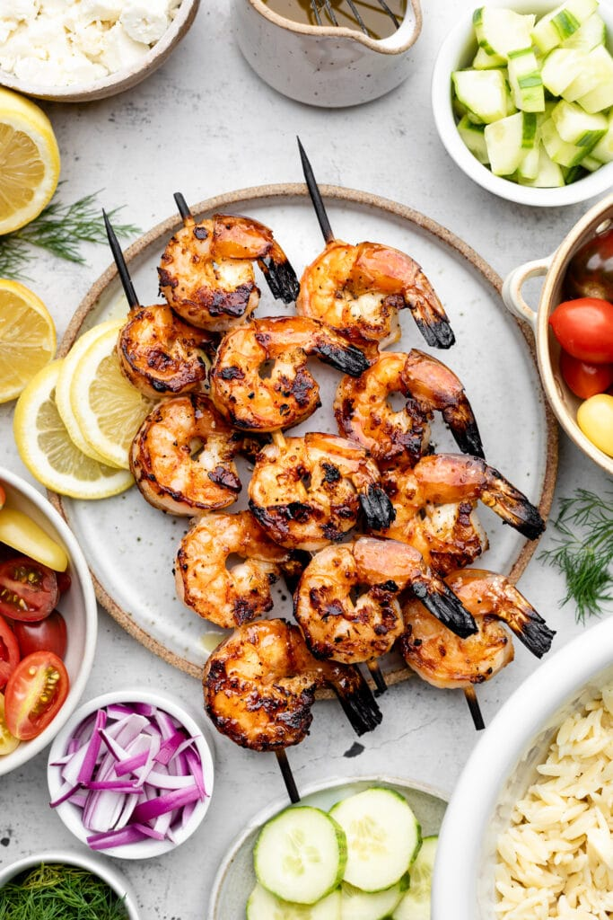 grilled shrimp on three skewers