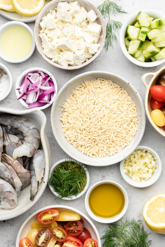 ingredients for grilled shrimp and orzo salad