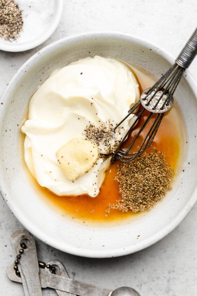 coleslaw dressing ingredients in bowl