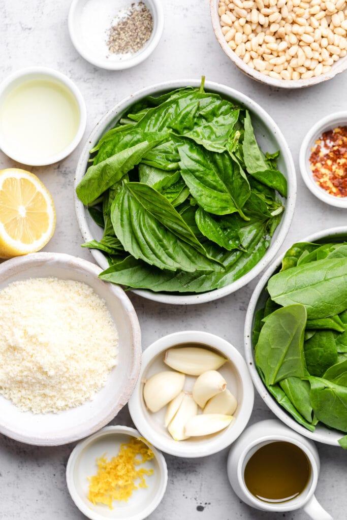 basil spinach pesto ingredients