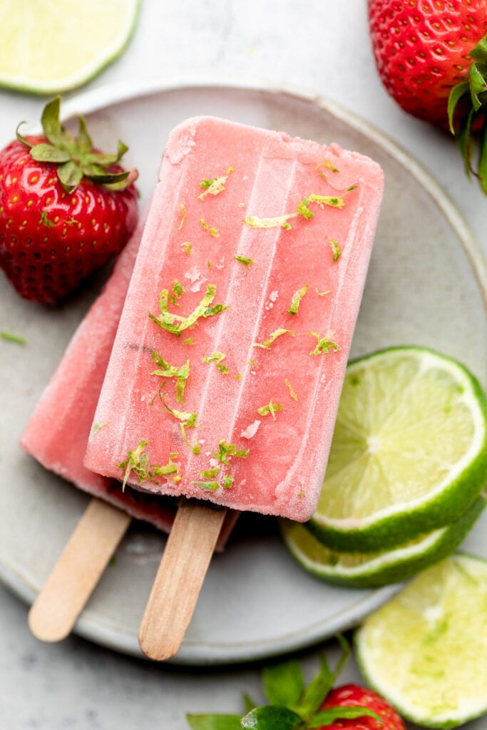 strawberry popsicles on plate