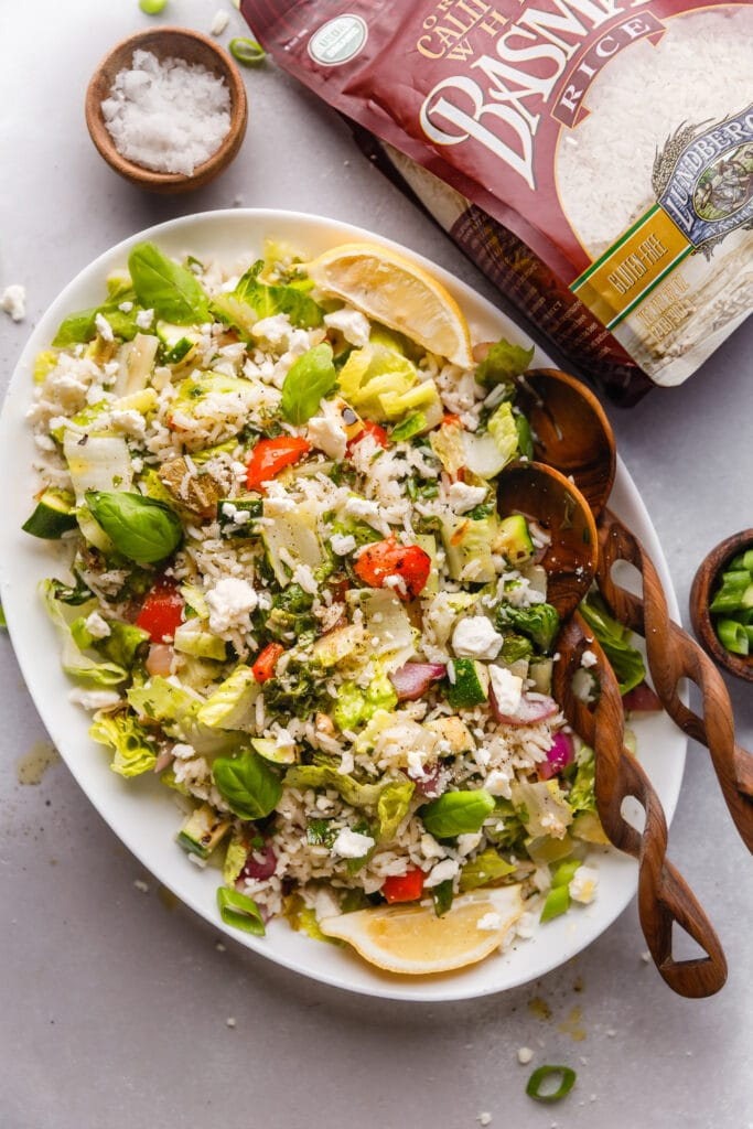 grilled vegetable and rice salad on platter