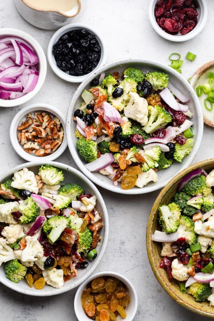 salad in bowls
