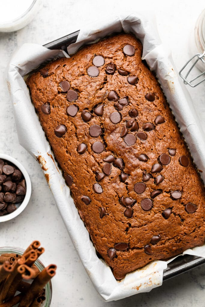 baked banana bread in loaf pan