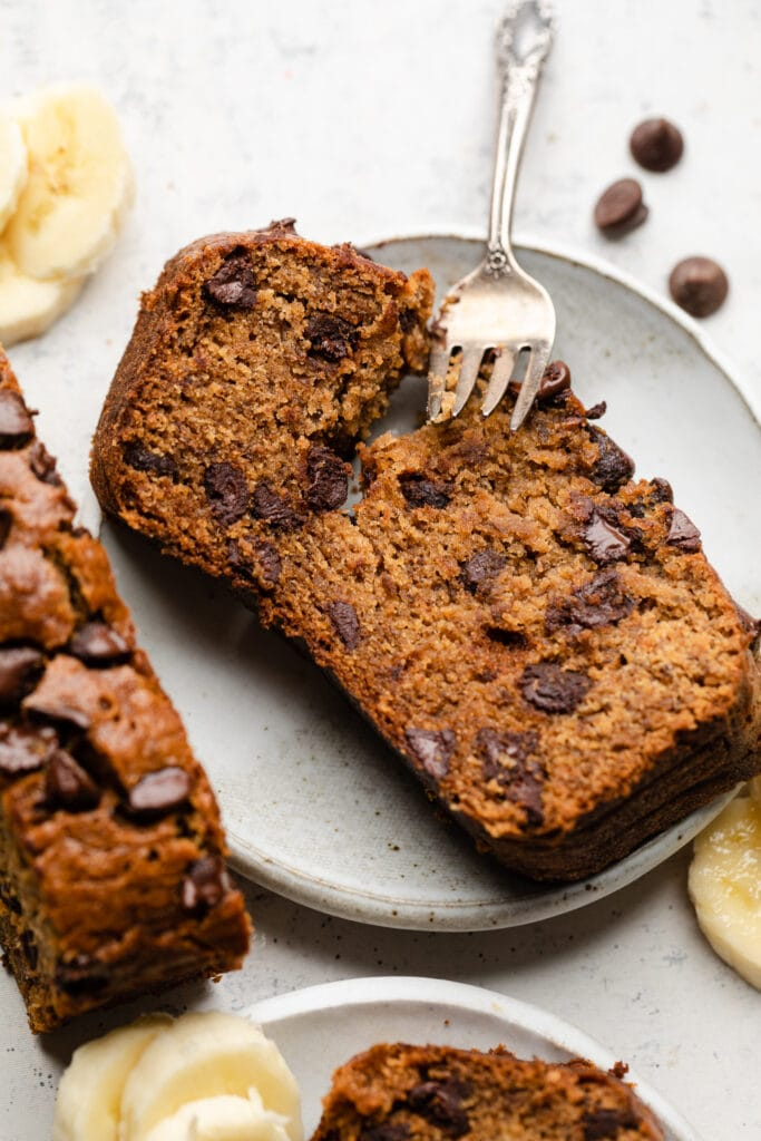 gluten free chocolate chip banana bread slice