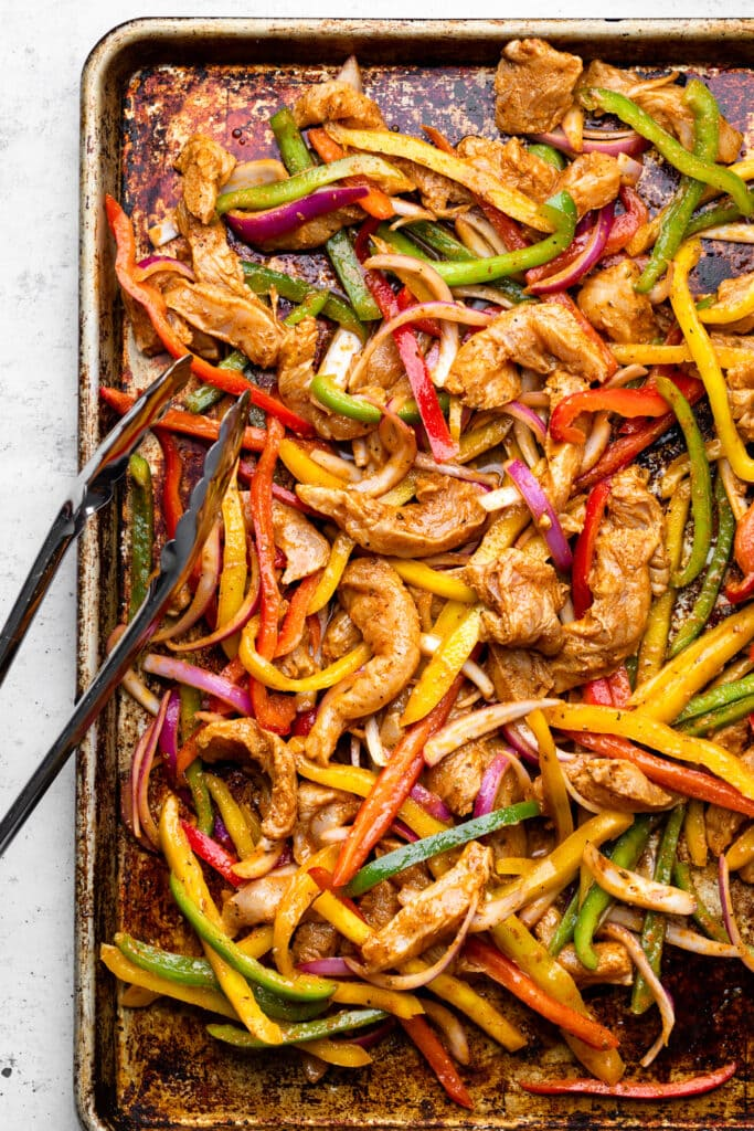chicken and veggies on sheet pan