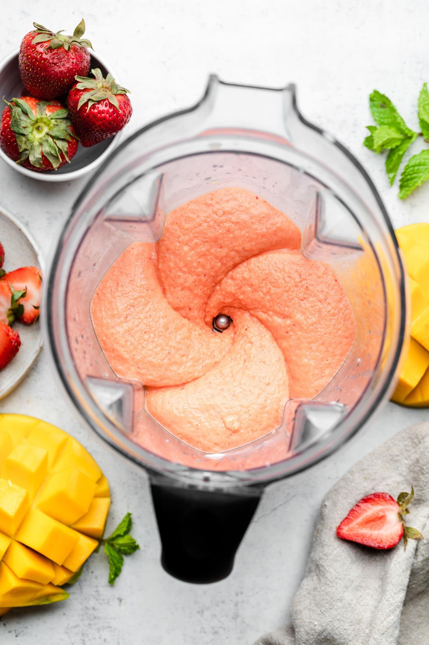 blended strawberry mango smoothie
