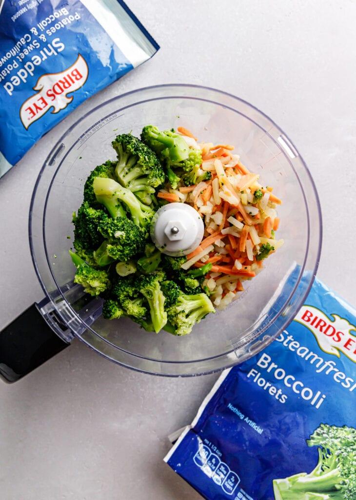 veggies in food processor