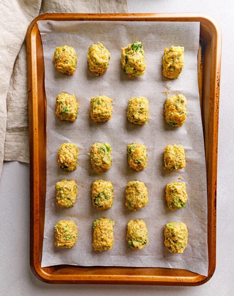 unbaked tots on sheet pan
