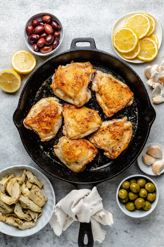 browned chicken in skillet