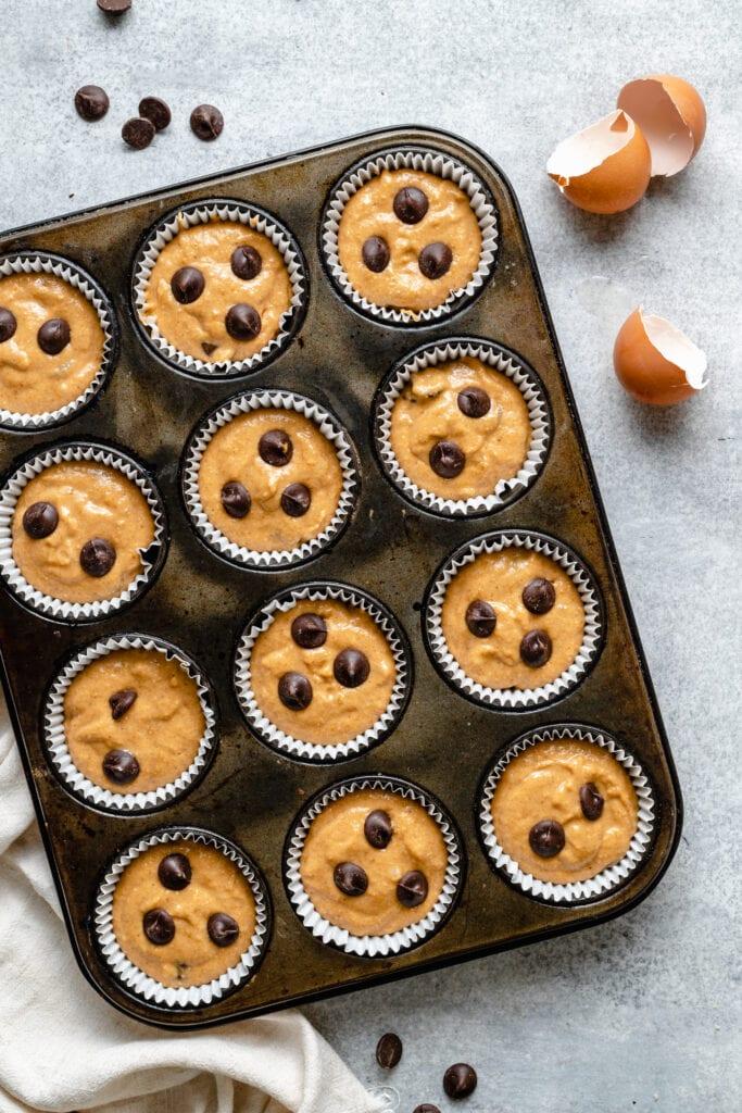 muffin batter in muffin pan