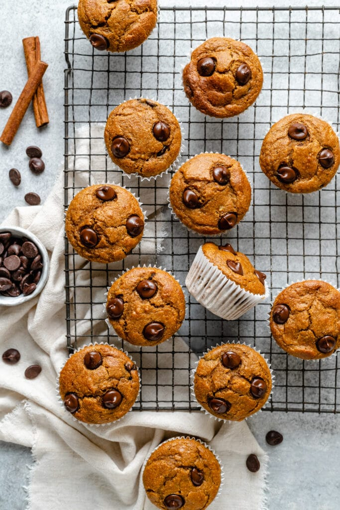 pumpkin banana muffins on baking tray