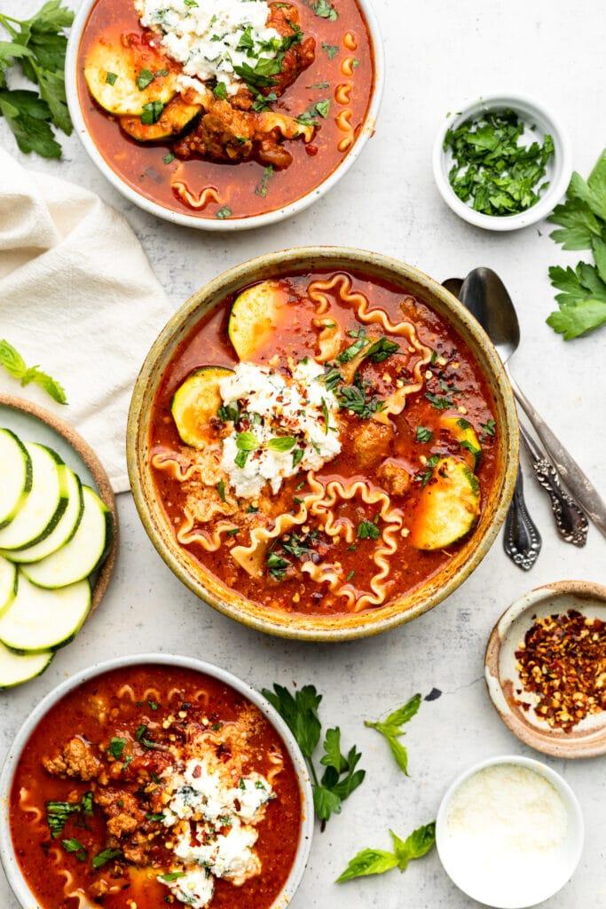 lasagna soup in bowl