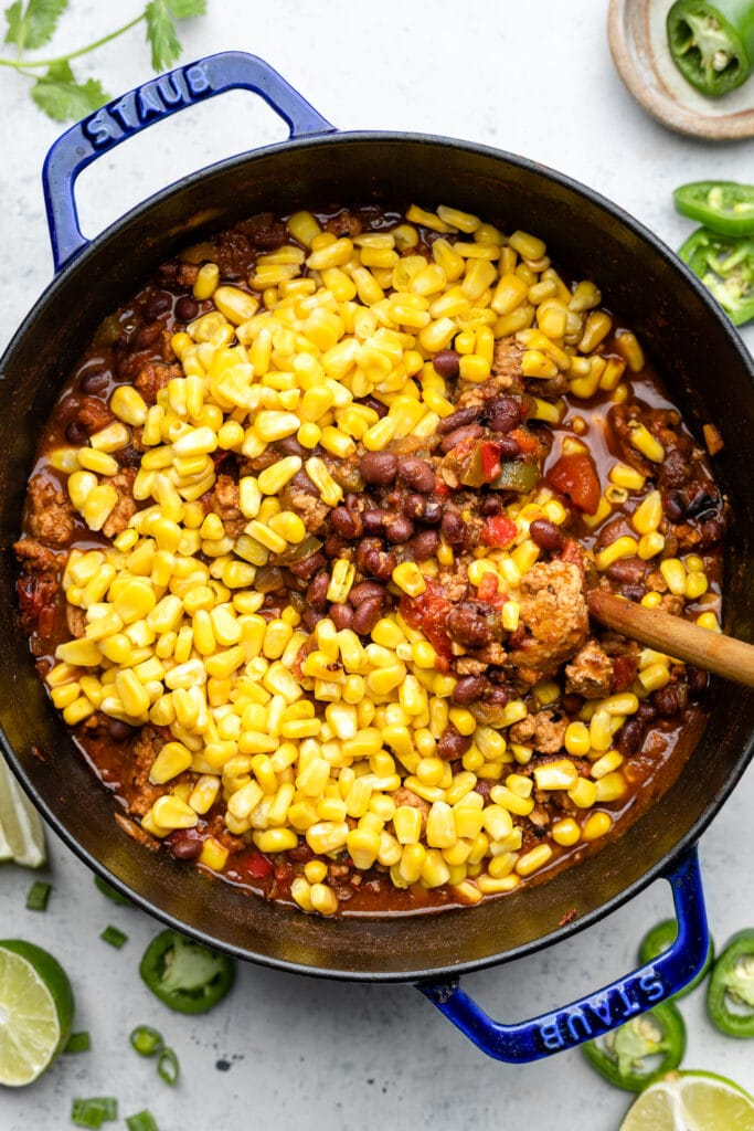 corn in pot with spoon