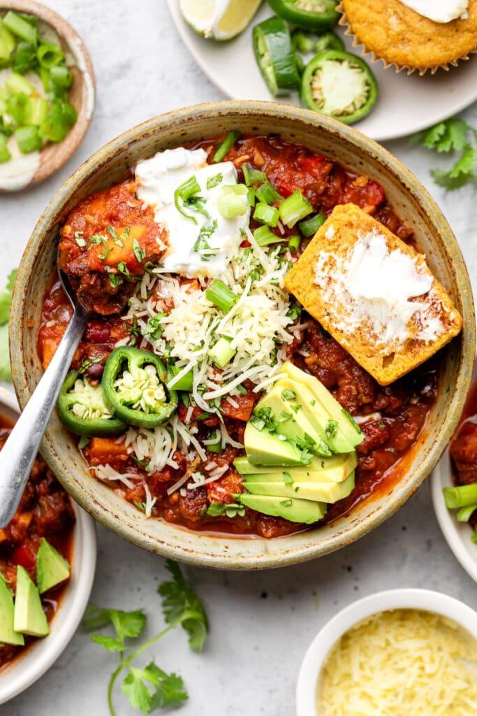 chili in bowl with cornbread